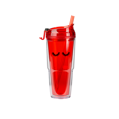 Red Clear Plastic Tumbler with matching straw and black eyelashes design.