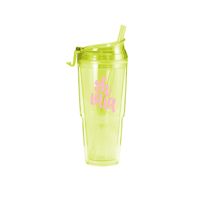 Citron green clear plastic tumbler with matching straw and 'Oh la la' printed in pink.