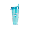 Clear plastic drink tumbler in aqua blue with matching straw and 'Chill Out' printed in pink.