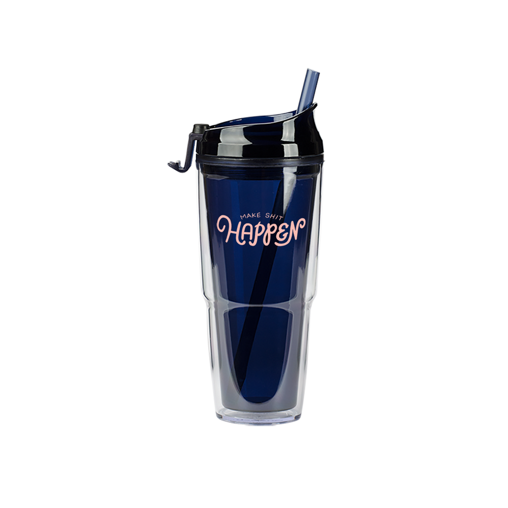 Make Shit Happen Navy Plastic Tumbler - Talking Out Of Turn - [product_description]