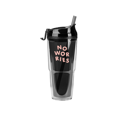 Smoke Plastic Tumbler with matching straw and 'No Worries' printed in pink.