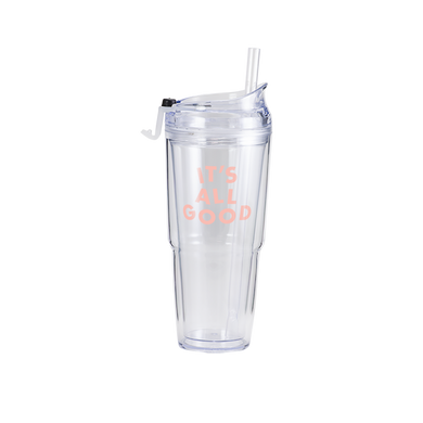 Clear Plastic Tumbler with matching straw and 'its all good' in pink.