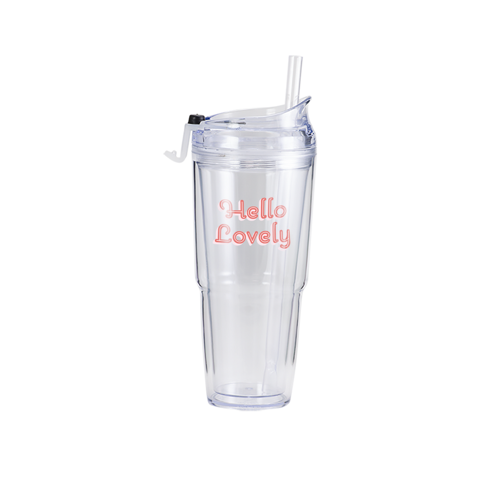 Hello Lovely Clear Plastic Tumbler - Talking Out Of Turn - [product_description]