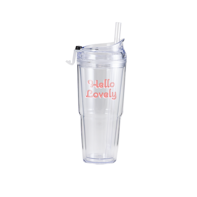 Hello Lovely Clear Plastic Tumbler is clear with pink and red lettering and a clear straw.