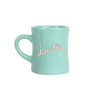 Mint green classic diner funny coffee mug with Hustle written in peach.