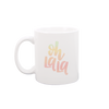 Oh La La White Mug is a cute coffee mug with pastel ombre lettering.