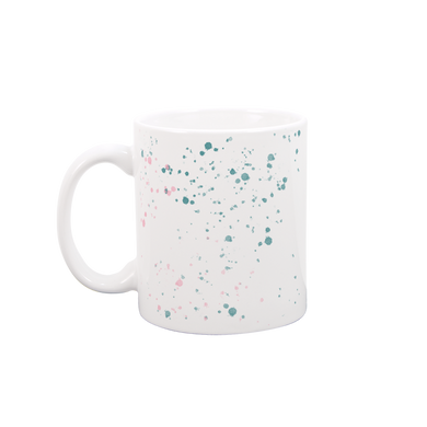 Splatter White Mug is a funny coffee mug with colorful details.