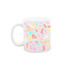 Party Animal White Mug is a funny coffee mug with rainbow confetti print.