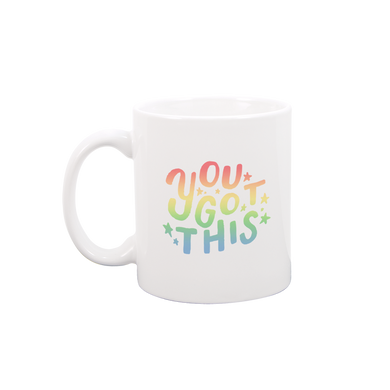 You Got This White Mug is a funny coffee mug with rainbow ombre lettering.