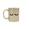 Funny coffee mug in metallic gold with two thick black eyelashes on the front.