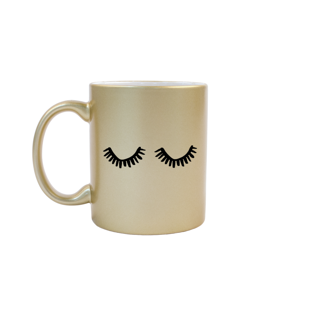Eyelashes Gold Mug - Talking Out Of Turn - [product_description]