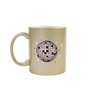 Funny coffee mug in metallic gold with a pink disco ball and sparkle doodles on the front. Funny coffee mug in metallic gold with a pink disco ball and sparkle doodles on the front
