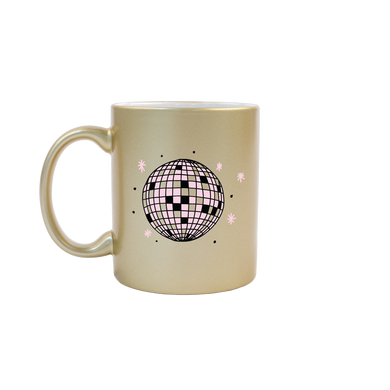Funny coffee mug in metallic gold with a pink disco ball and sparkle doodles on the front.