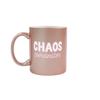 Funny coffee mug in rose gold with CHAOS Coordinator written on the front in two different fonts