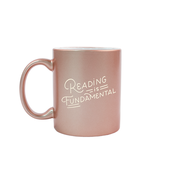 Reading is Fundamental Sand Carved Metallic Mug is a funny coffee mug with engraved lettering.