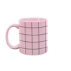 Pink funny coffee mug with a black grid printed on all sides.