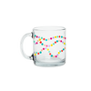 Funny coffee mug with strands of colorful dots running around the mug.