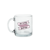 So Many Feelings Glass Mug is a funny coffee mug with pink banner decal.