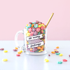So Many Feelings Glass Mug filled with colorful cereal - Funny Coffee Mugs