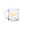 Clear glass funny coffee mug with a yellow pennant flag that reads Over It AF.
