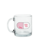 Clear glass mug with an illustration of a large pink and white pill that with Chill Pill written inside the pill.
