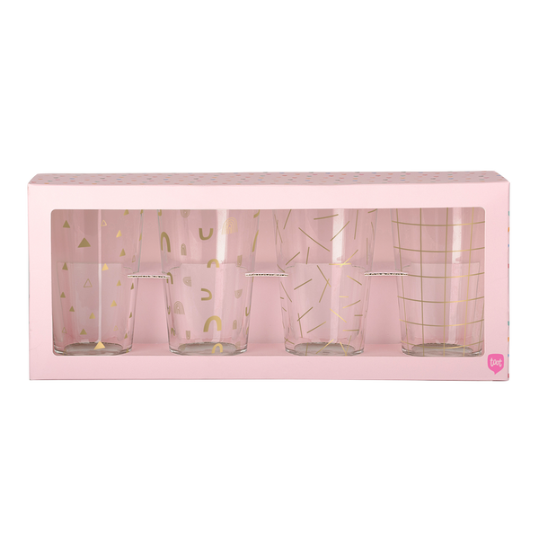 Set of 4 pint glasses with gold print designs in pink box packaging.