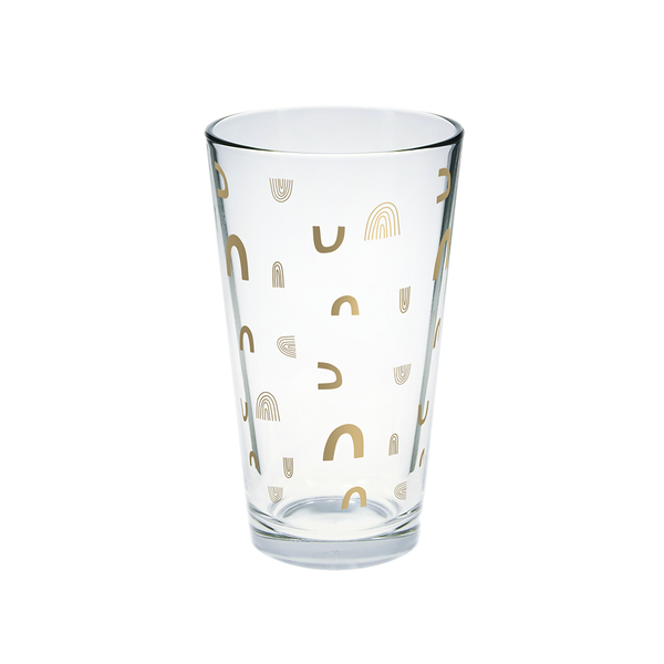 Clear glass pint glass with gold rainbow arches pattern.