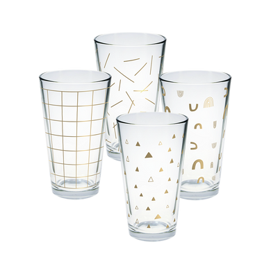 Set of 4 pint glasses with gold print designs.