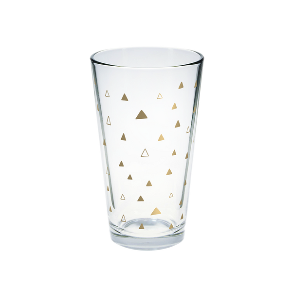 Clear glass pint glass with gold triangles pattern.