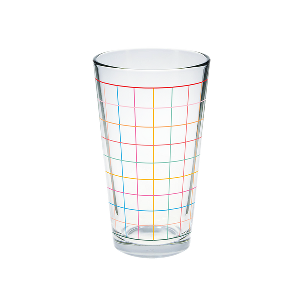 Glass pint glass with rainbow grid print.