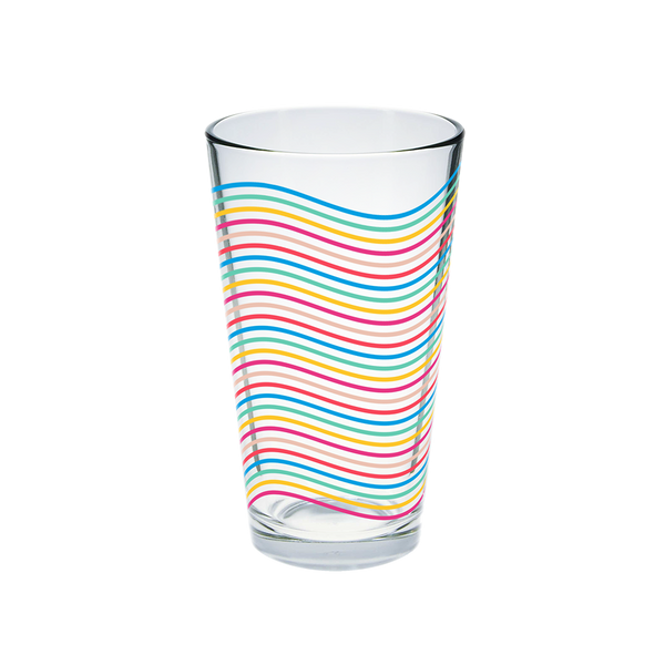 Glass pint glass with wavy rainbow lines pattern.