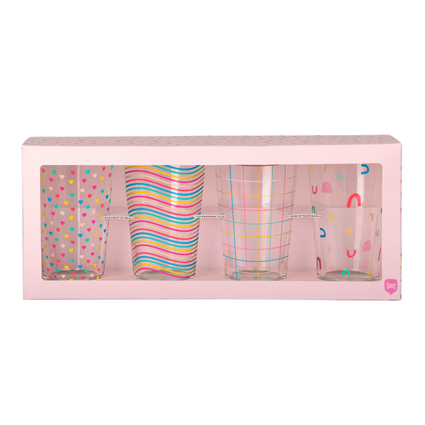 Set of 4 pint glasses with rainbow print designs in pink box packaging.