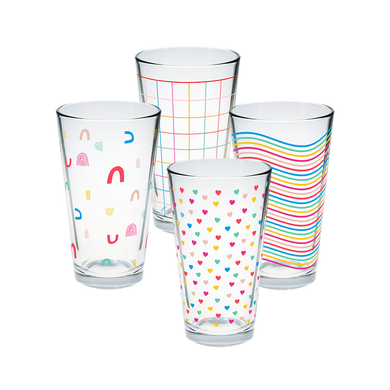 Set of 4 pint glasses with rainbow print designs.