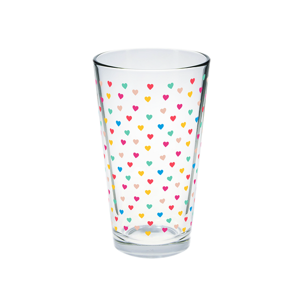Glass pint glass with rainbow tiny hearts print.