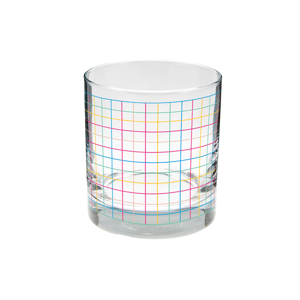 Clear rocks glass with rainbow grid pattern.