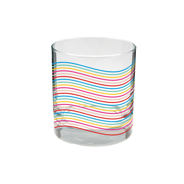 Clear rocks glass with rainbow wavy lines pattern.