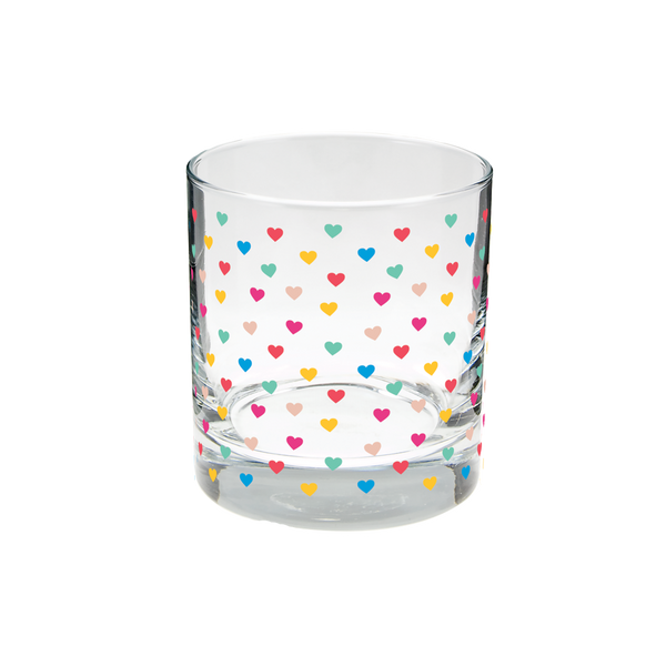 Clear rocks glass with rainbow tiny hearts pattern.