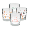 Set of 4 rocks glasses with its all good, terrazzo, sundrops, and no worries designs.
