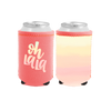 Oh la la Reversible Can Cooler is red with oh lala then flips to an ombre peach pattern.