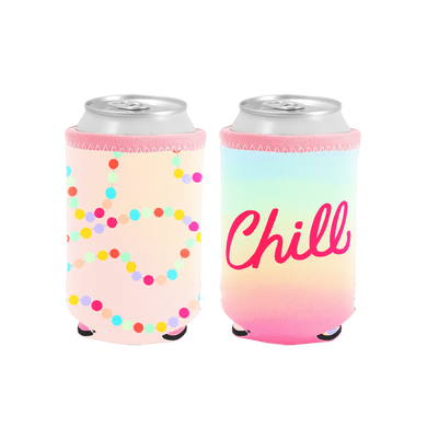 Chill Reversible Can Cooler has a pink side with rainbow polka dots and a rainbow ombre side with the lettering Chill.
