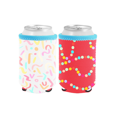 Sugar Rush Reversible Can Cooler is white with rainbow confetti and flips to red with rainbow polka dots.