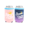 Buenos Dias Reversible Can Cooler is a cute can holder with pink Buenos Dias on one and purple Buenas Noches on the other.