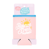 Buenos Dias Reversible Can Cooler comes packaged with a cute pink cardboard sleeve.