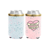 Regret Nothing Reversible Can Cooler is blue splatter on one side and pink splatter with a regret nothing heart on the other.