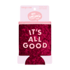 It's All Good Velvet Can Cooler comes packaged in a pink cardboard sleeve.