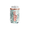 Peace Velvet Can Cooler is a blue velvet with a pink hand making the peace sign.
