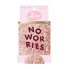 No Worries Velvet Can Cooler is packaged in a cute pink cardboard sleeve.