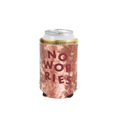 No Worries Velvet Can Cooler is a blush velvet with red no worries lettering.