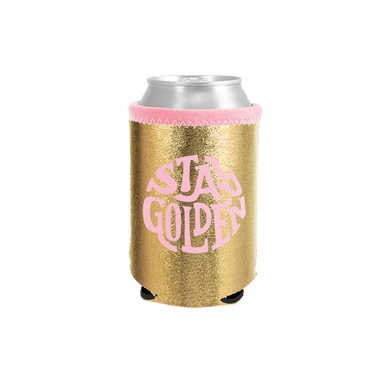 Stay Golden Metallic Can Cooler is a gold material with pink text lettering.