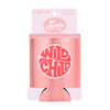 Wild Child Metallic Rose Gold Can Cooler comes packaged in a cute pink cardboard sleeve.